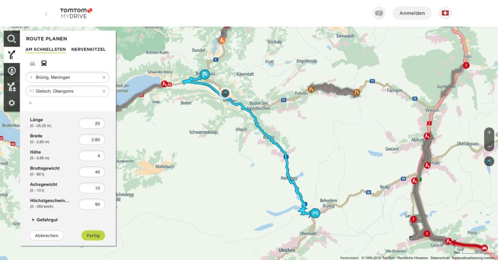 Auf dieser Route hat mydrive die Gewichtsbeschränkung im Abschnitt Brünig-Meiringen(28t) erkannt und umfahren. Jedoch die Strecke von Grimselpass-Gletsch, die auf 32t beschränkt ist, wird bei der Routenplanung missachtet.